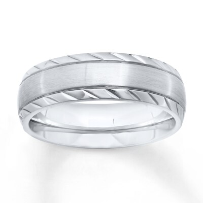 Mens Wedding Band Stainless Steel 7mm