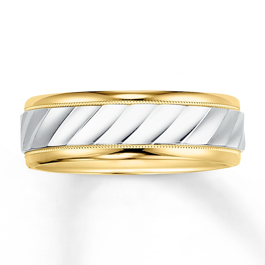 Wedding Band 14k Two Tone Gold 7mm Tap To Expand