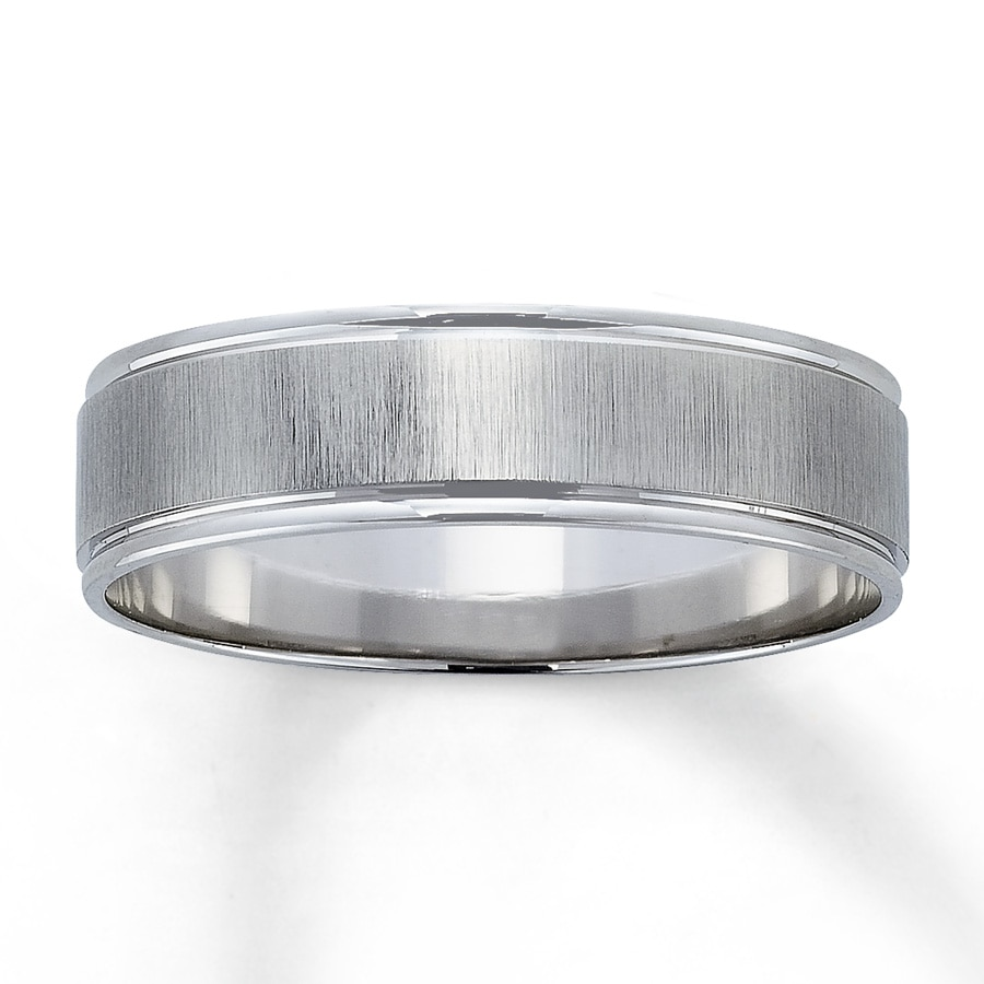 Email Men's Wedding Band 10K White Gold