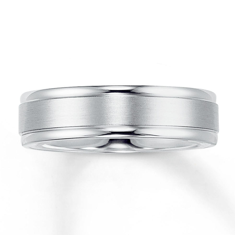 wedding band 14k white gold 6mm - Mens White Gold Wedding Ring
