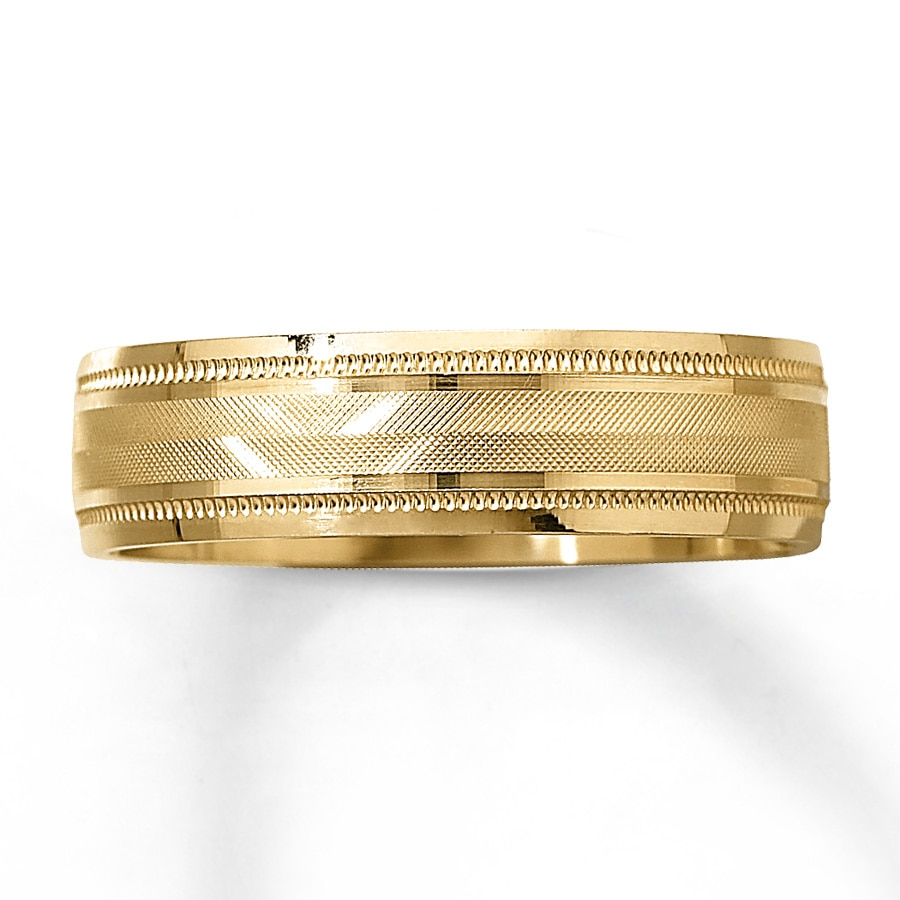 kay - men's wedding band 10k yellow gold 6mm