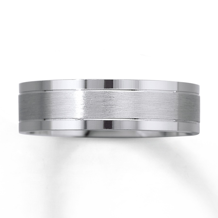 Mens Wedding Band 10K White Gold 6mm