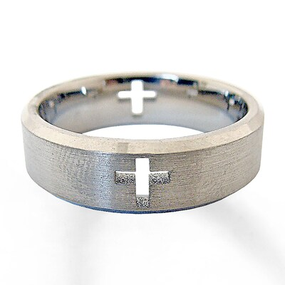 Mens Cross Wedding Band Titanium 7mm