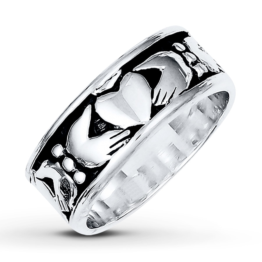 men 39 s claddagh ring sterling silver 8mm 25184300199 kay. Black Bedroom Furniture Sets. Home Design Ideas