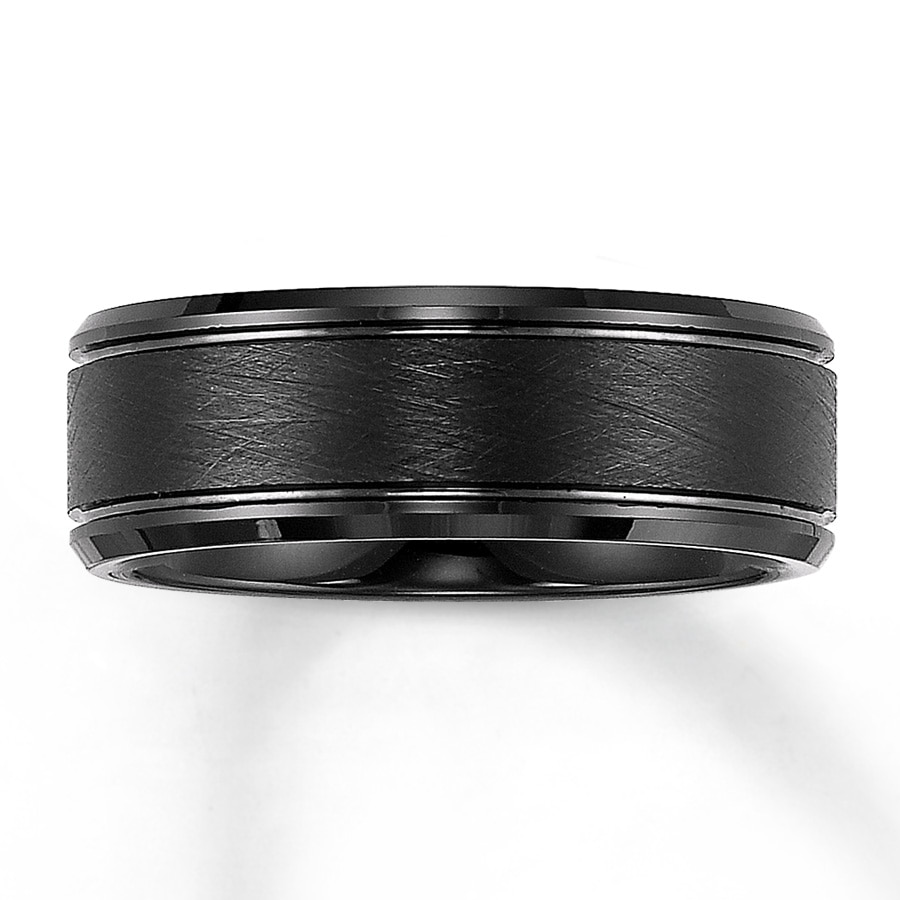 mens wedding band tungsten carbide 1 black mens wedding bands Hover to zoom