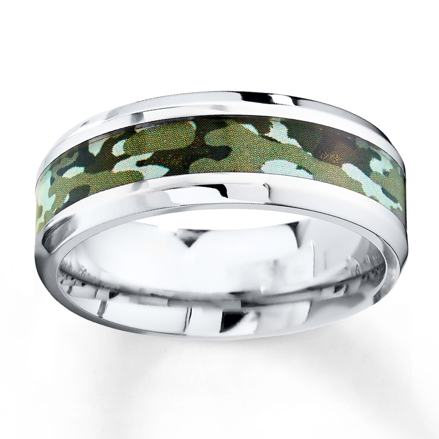 mens 8mm wedding band camouflage stainless steel camo wedding rings Hover to zoom