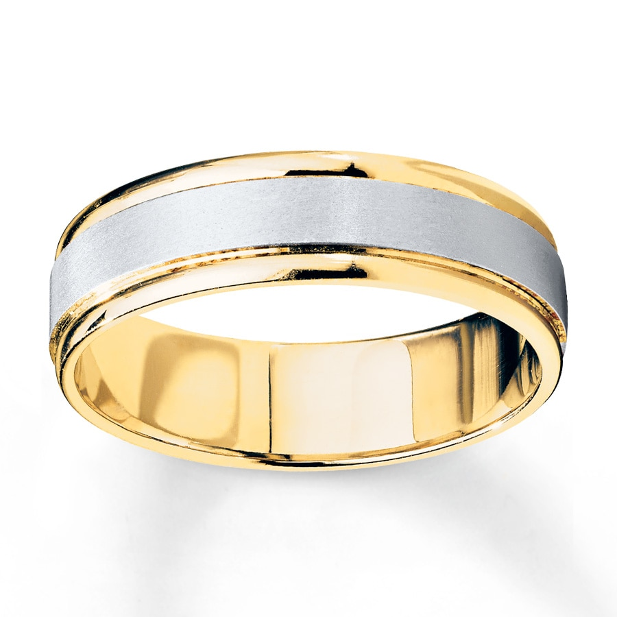 hover to zoom - Two Tone Wedding Rings