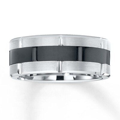 Triton Wedding Band Black & White Tungsten Carbide 8.5mm