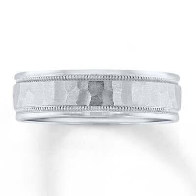 Wedding Band 10K White Gold 6mm
