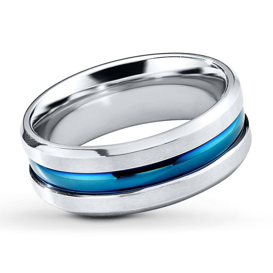 rings amazon com mens band ring steel blue classic dp stainless konov