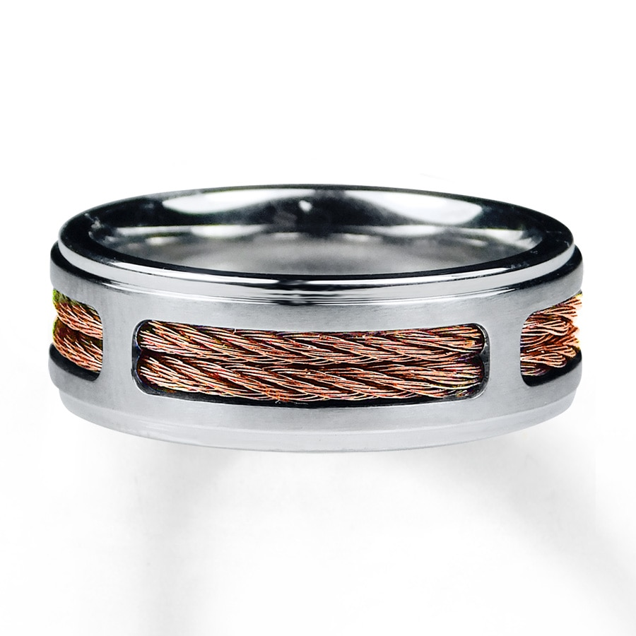 Kay men39s wedding band stainless steel copper tone ion for Mens copper wedding rings