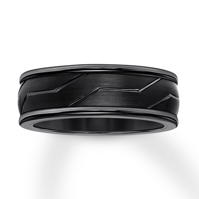 Mens Wedding Band Black Tungsten Carbide 8mm