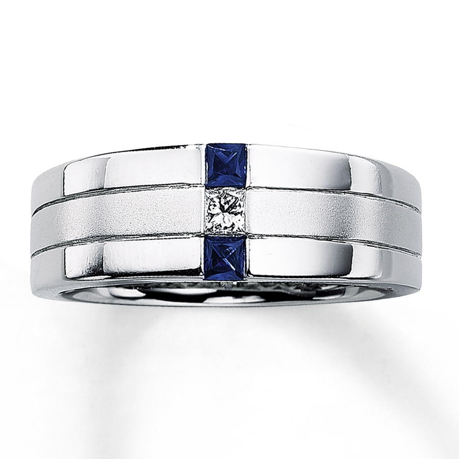 Kay Mens Sapphire Ring 110 ct Diamond 14K White Gold