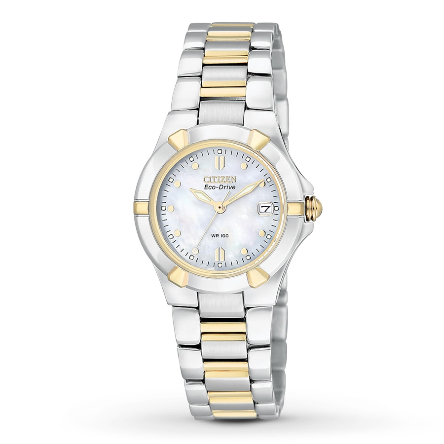 new citizen eco drive riva two tone mop womens