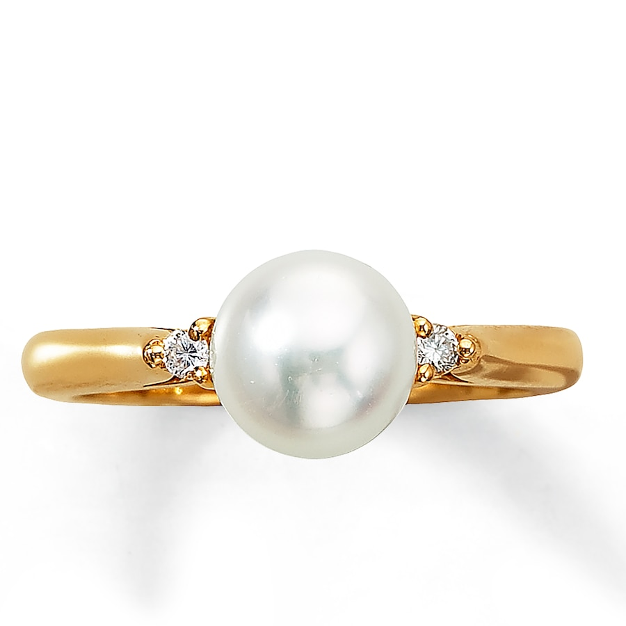 Kay Cultured Pearl Ring 1 20 ct tw Diamonds 14K Yellow Gold