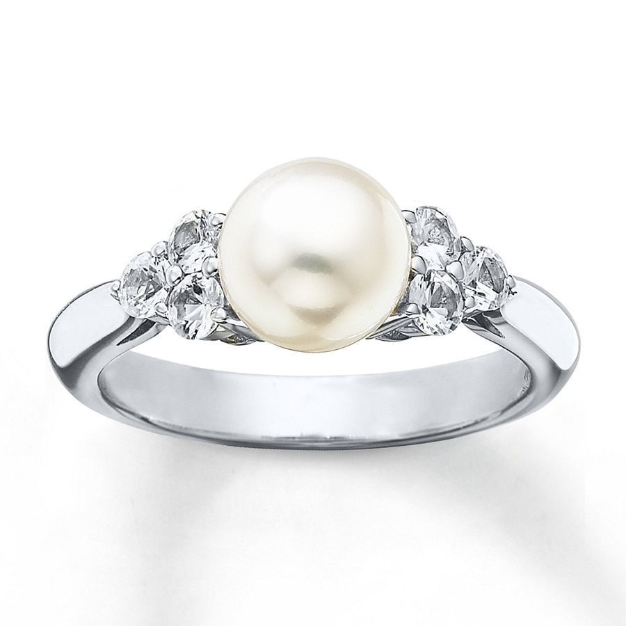 Cultured Pearl Ring Natural White Sapphires Sterling