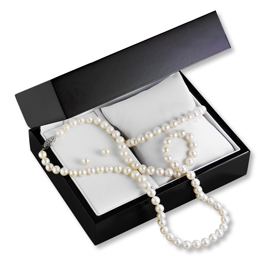 Cultured Pearl Set Necklace Bracelet Sterling Silver Earrings
