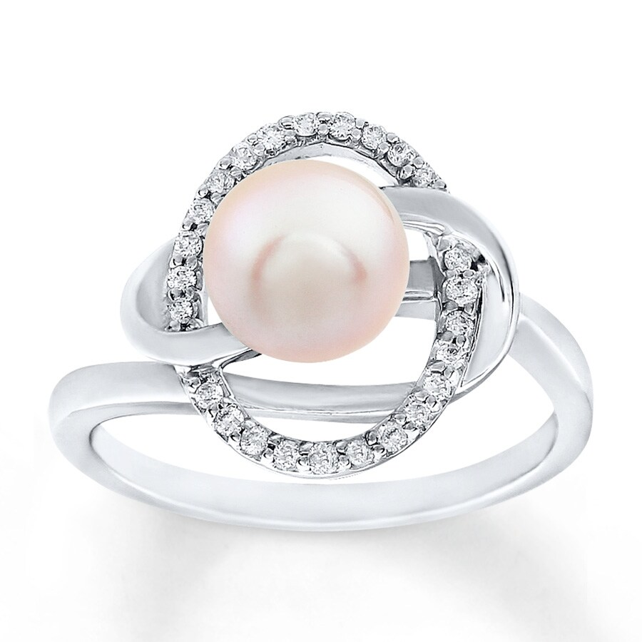 Kay Pink Cultured Pearl Ring 1 8 ct tw Diamonds 10K White Gold