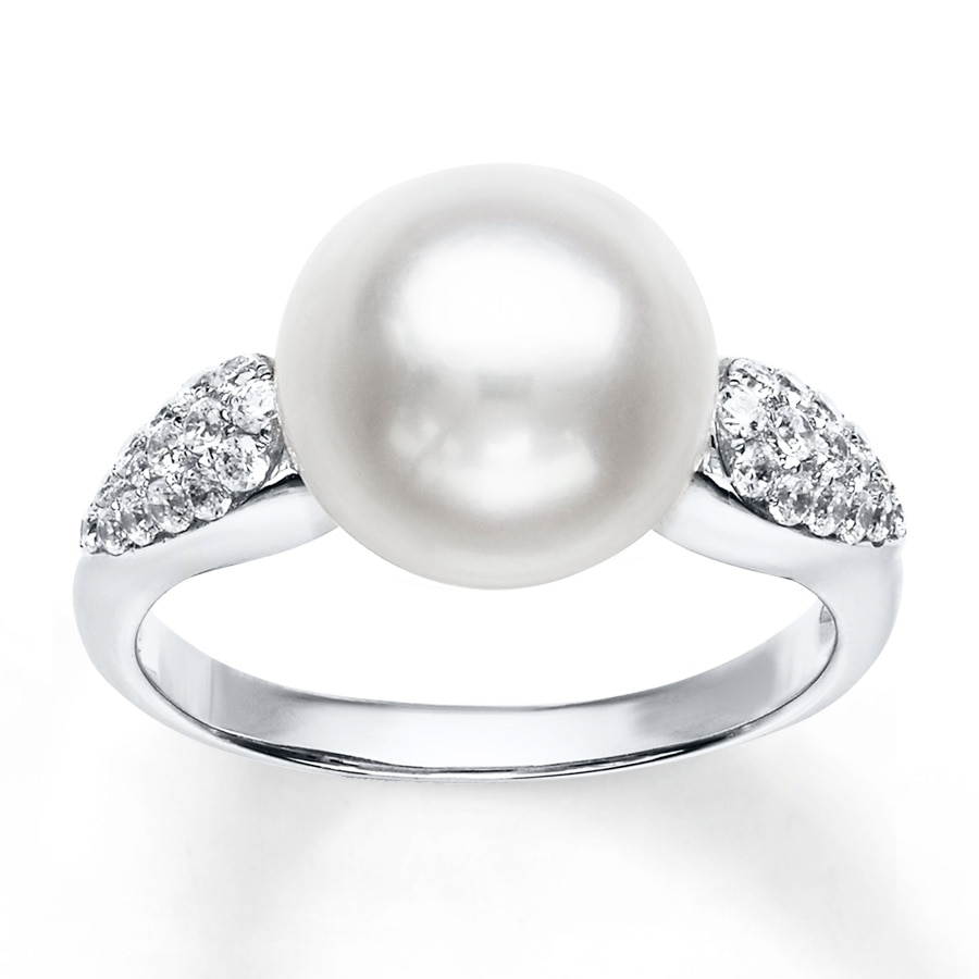 Kay Cultured Pearl Ring Cubic Zirconia Sterling Silver