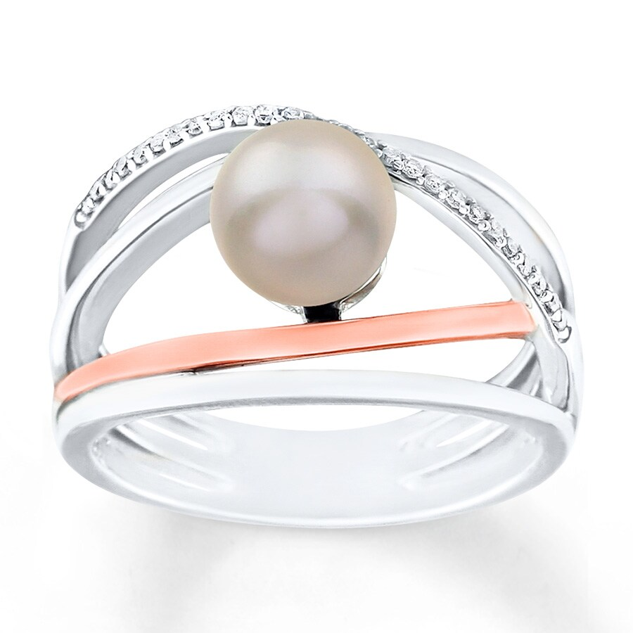 Kay Cultured Pearl Ring 1 10 ct tw Diamonds Sterling Silver
