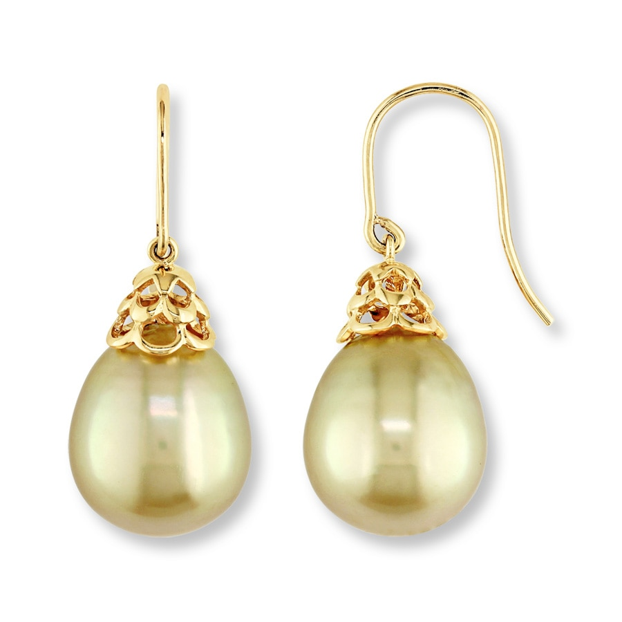gold tone cultured pearl earrings 14k yellow gold