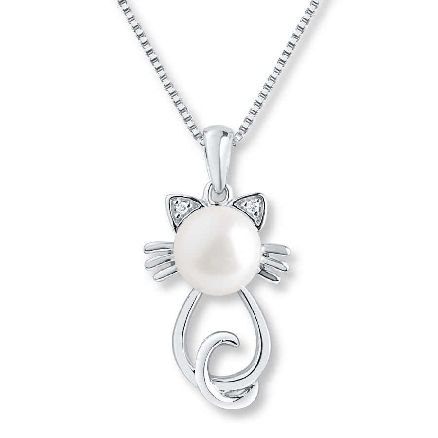 kay cultured hover kitty to en silver kaystore necklace pearl zm mv zoom cat sterling