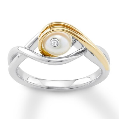 Anne Geddes Cultured Pearl Ring Sterling Silver/14K Yellow Gold
