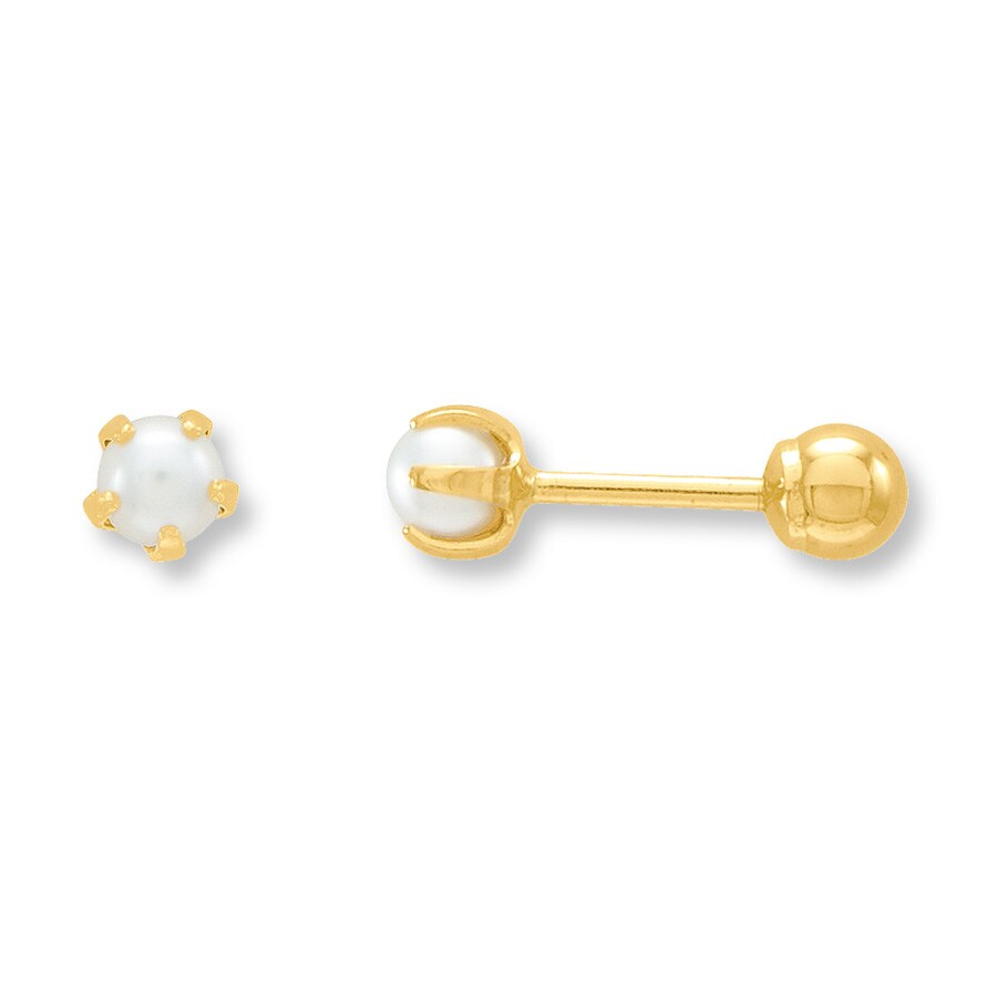 cultured pearl earrings reversible 14k yellow gold