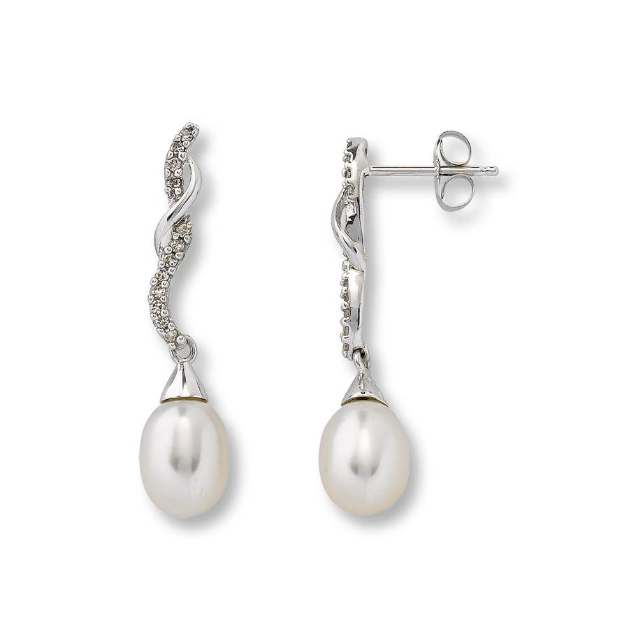 Kay Cultured Pearl Earrings 1 8 ct tw Diamonds 10K White Gold