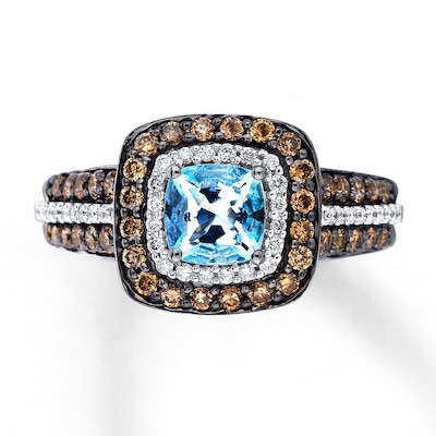 Le Vian Aquamarine Ring 3/4 ct tw Diamonds 14K Vanilla Gold