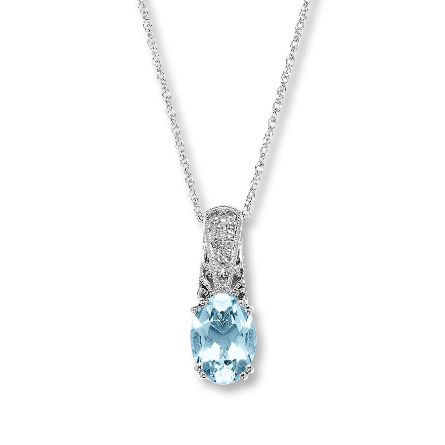 Kay - Clearance! 10K White Gold Diamond & Aquamarine Necklace