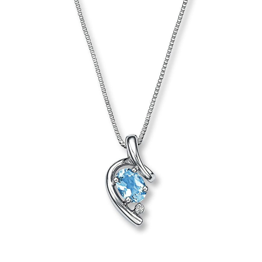 Kay - Aquamarine Necklace With Diamond Accent Sterling Silver