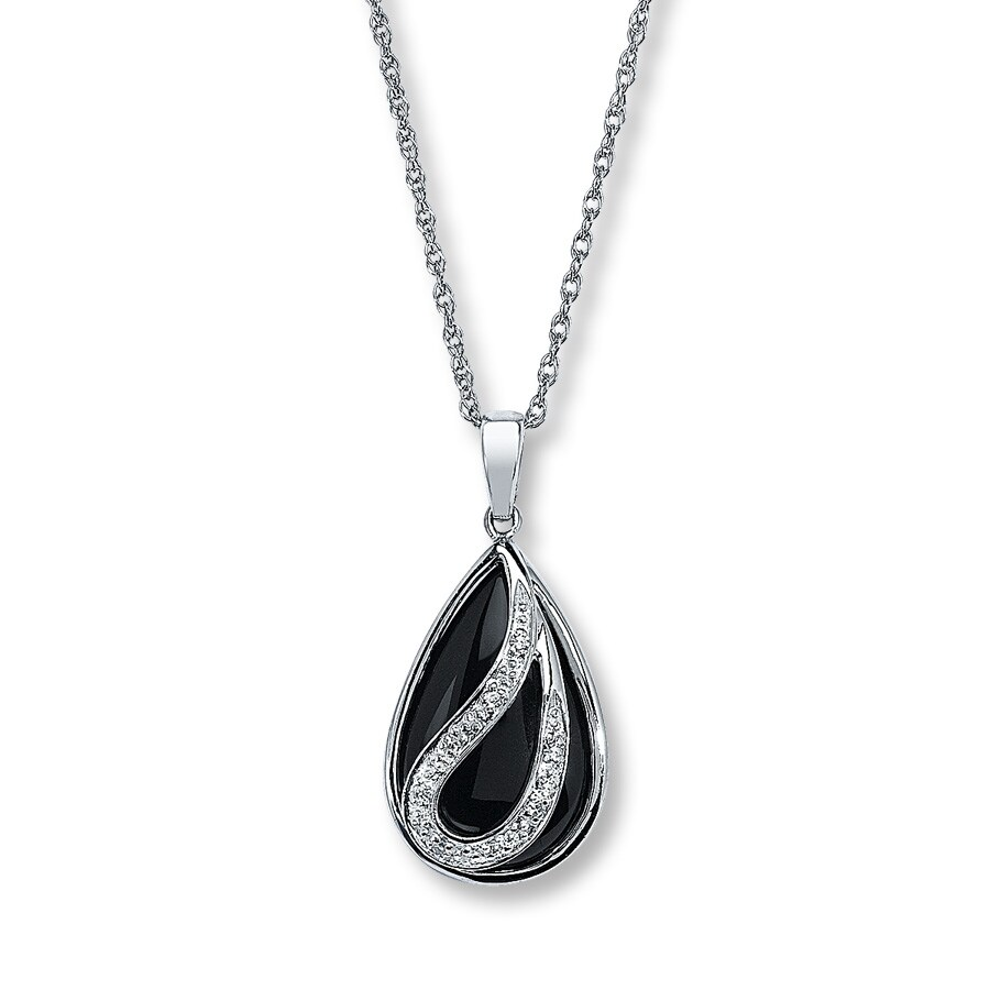 sterling chains pendant pin faceted to onyx necklace black long triangle gemstone