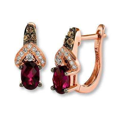 Le Vian Rhodolite Garnet 1/5 ct tw Diamonds 14K Gold Earrings