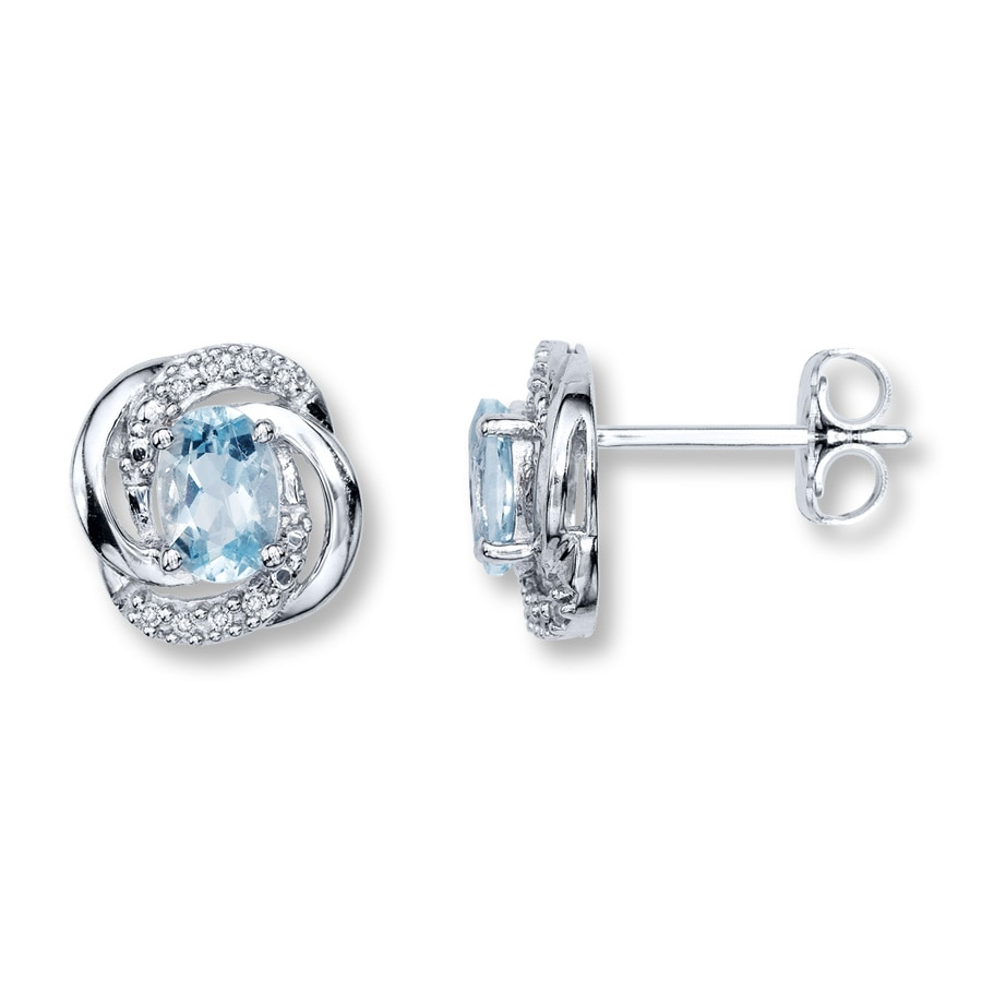 Kay  Aquamarine Earrings With Diamond Accents Sterling Silver