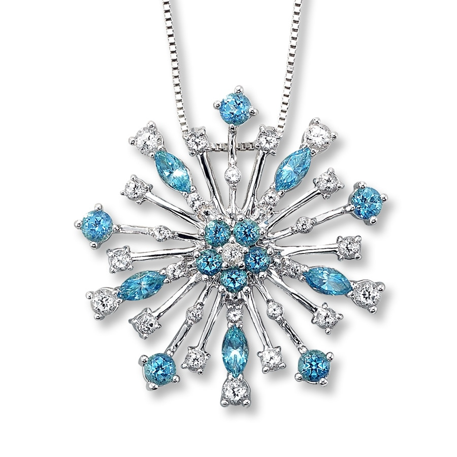 necklace of crystal charms avalon blue products snowflake