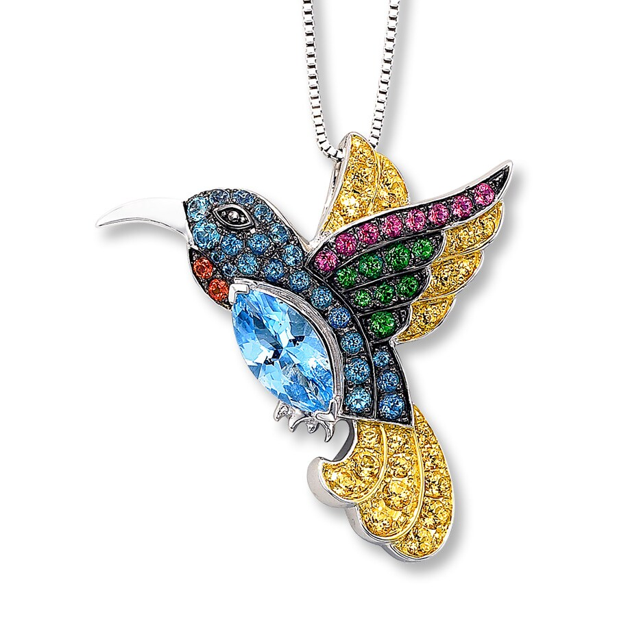 necklace large pendant hummingbird sterling necklaces asimi silver