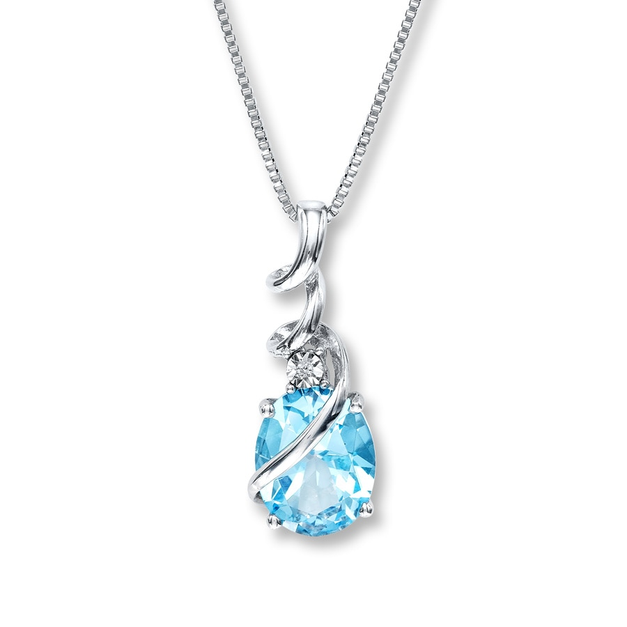 topaz ct blue auroral necklace pendant gold white in