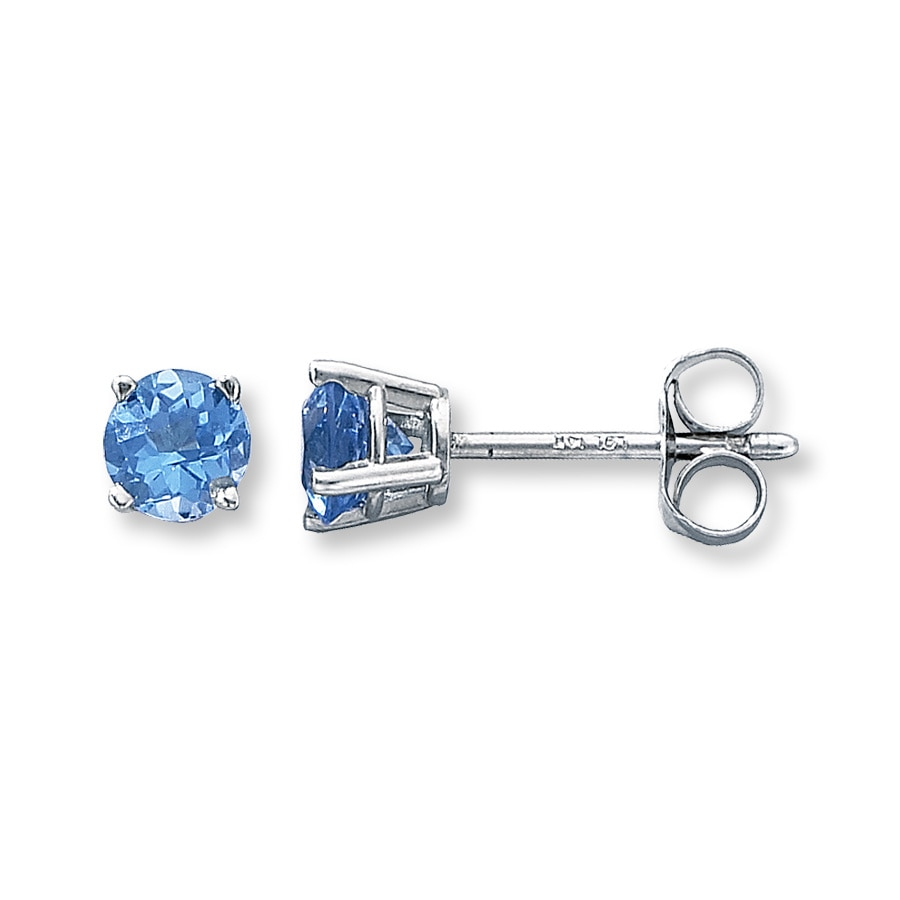 Blue Topaz Earrings Round Cut 14k White Gold