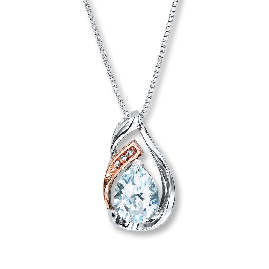 Kay - Aquamarine Necklace With Diamonds Sterling Silver ...