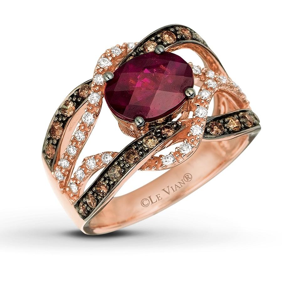 Garnet Bands: Levian Rhodolite Garnet And Choc/White Diamond Ring