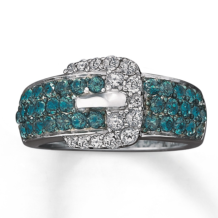belt buckle ring blue white topaz sterling silver