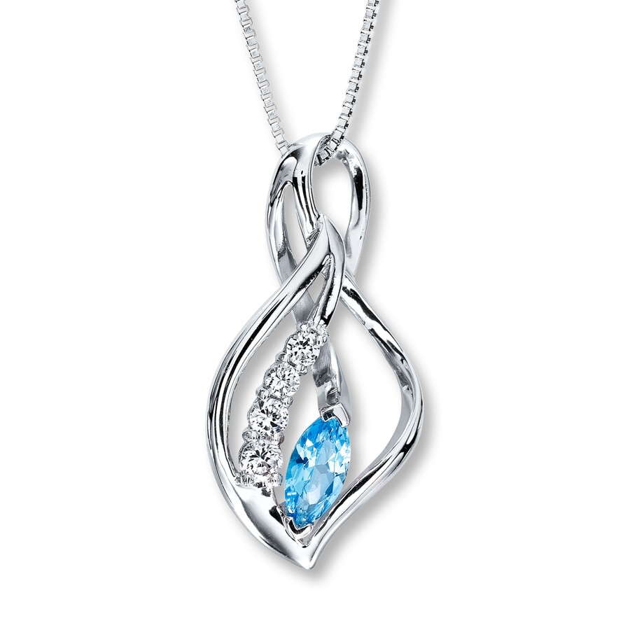 necklace sterling silver blue topaz bhp ebay