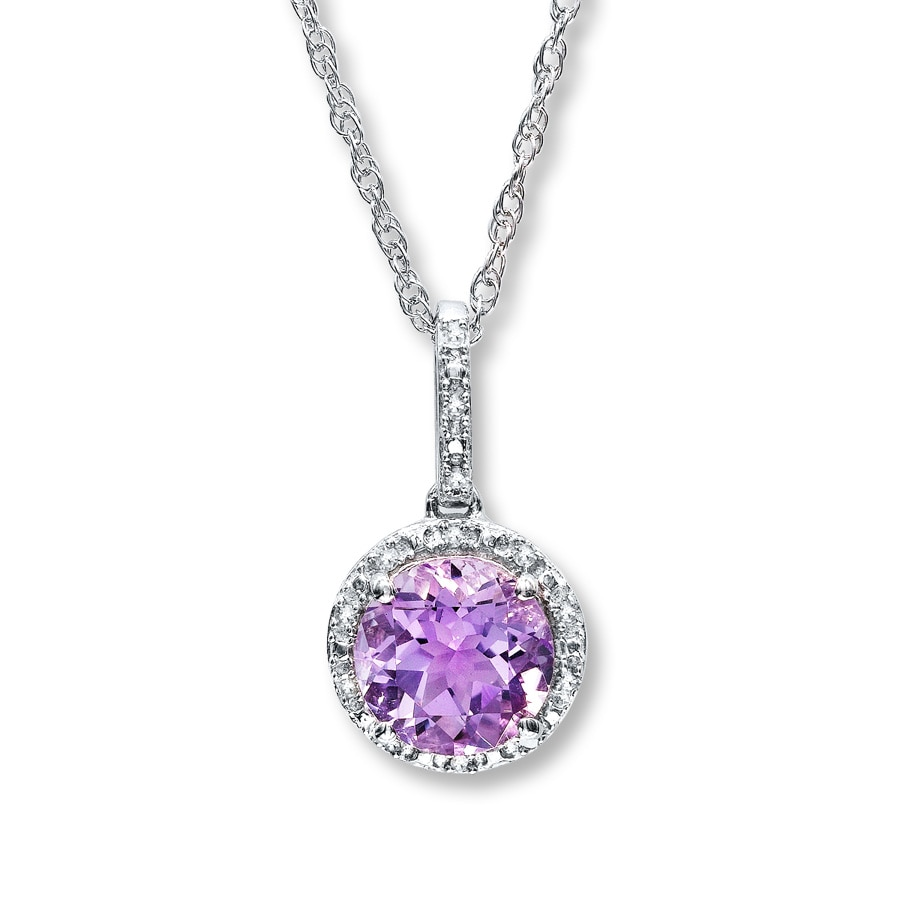 Kay amethyst necklace round cut with diamonds sterling silver hover to zoom aloadofball Image collections