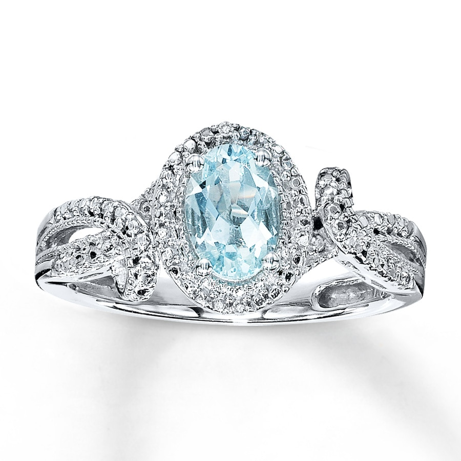 aquamarine ring oval cut with diamonds sterling silver