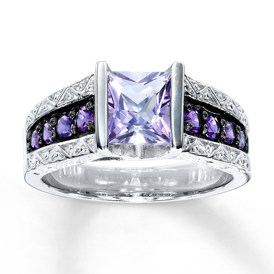white engagement gold rings and amethyst purple ring diamond vintage