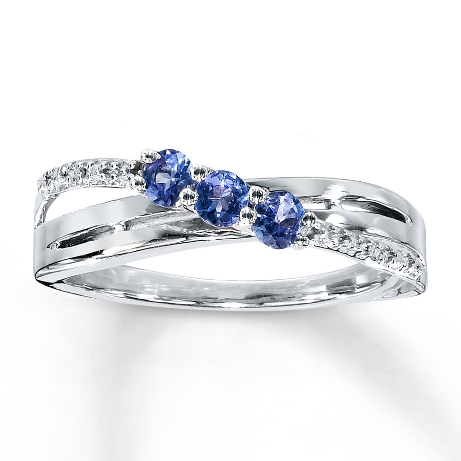 engagement bands gold tanzanite diamond pear and white ring