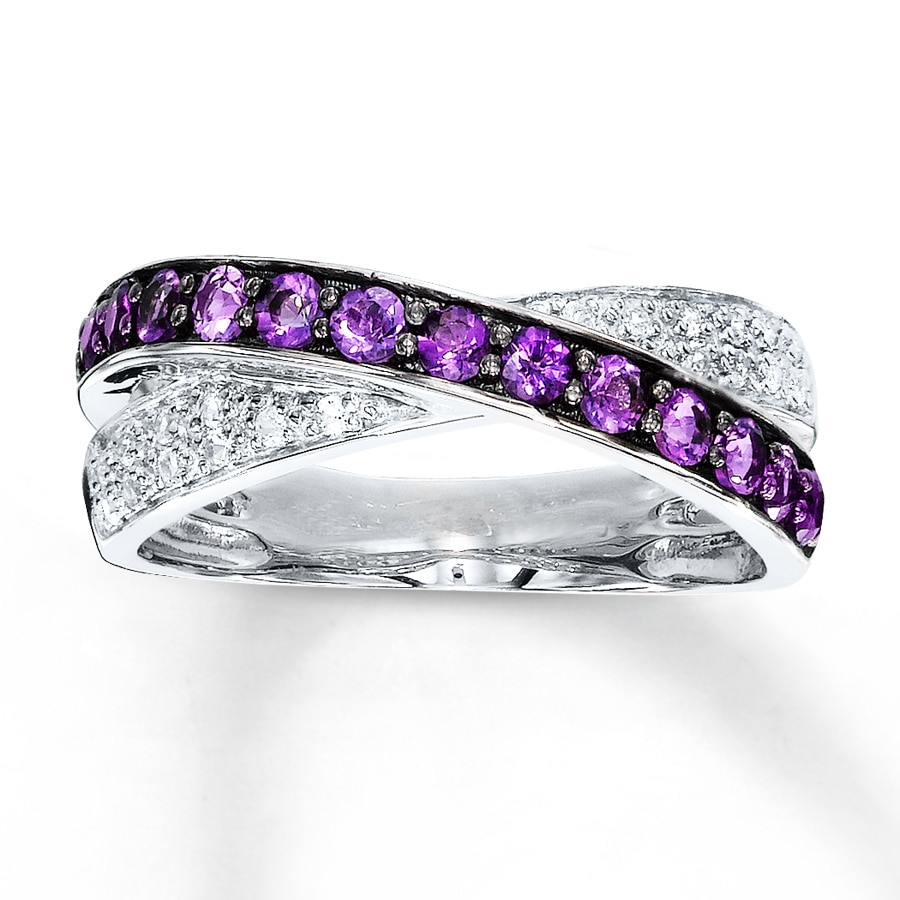 amethyst ring lab created sapphires sterling silver