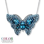 Blue SWAROVSKI ELEMENTS Butterfly Necklace Sterling Silver