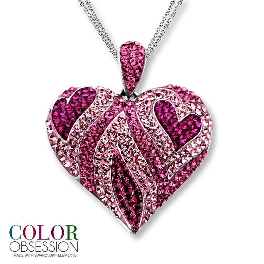 kay pink swarovski elements heart necklace sterling silver